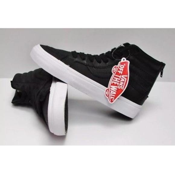 85bffc5107 Vans SK8-Hi Reissue Zip Leather Black White